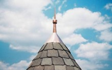 Copper finial for turret roof, installed.
