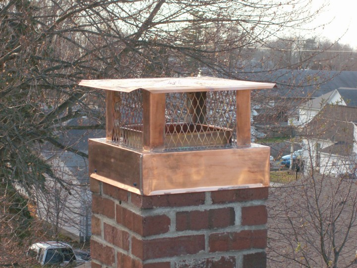 Custom copper chimney cap for chimney with no clay liner.