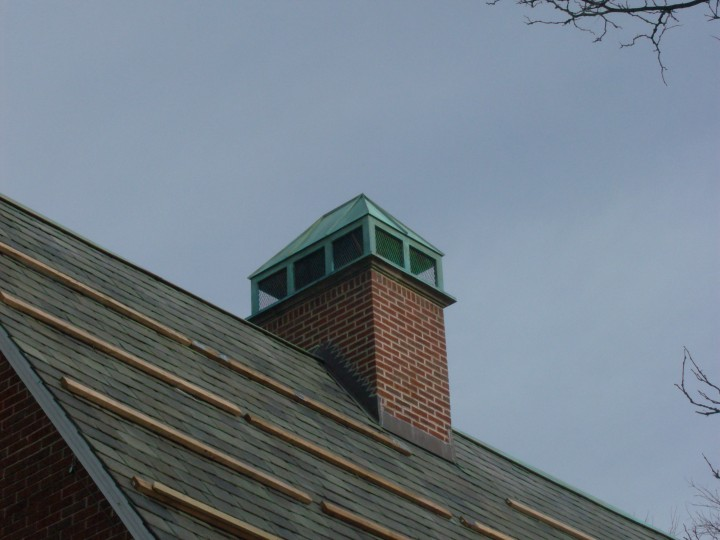Custom copper chimney cap flue cover shroud, with patina.