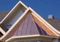 Custom copper standing seam bay window roof.